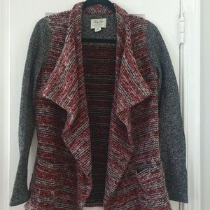 Sz S Lucky Brand Gray Black White Red Cardigan EUC